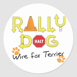 Wire Fox Terrier Rally Dog Round Sticker