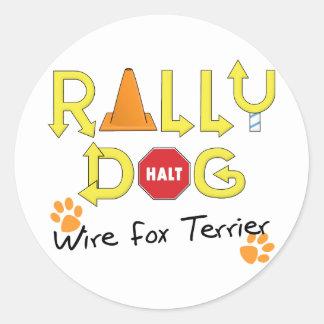 Wire Fox Terrier Rally Dog Round Sticker