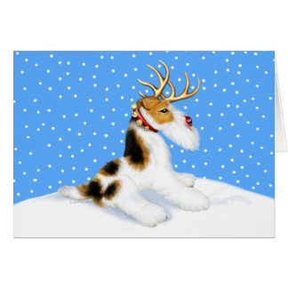 Wire Fox Terrier Reindeer Card