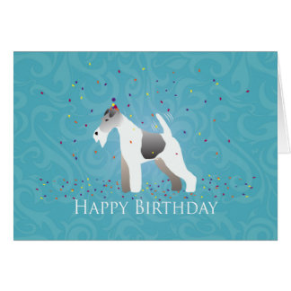 Wire Fox Terrier Silhouette Birthday Design Card