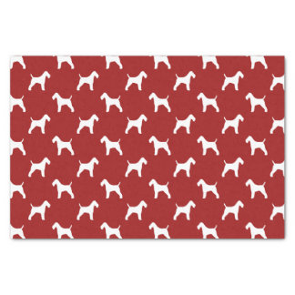 Wire Fox Terrier Silhouettes Pattern Red Tissue Paper