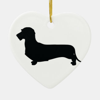 Wire Hair Dachshund Heart Ornament