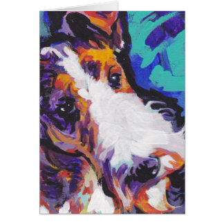 Wire hair Fox Terrier Bright Colorful Pop Dog Art Card