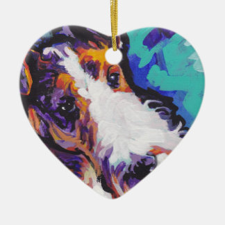 Wire hair Fox Terrier Bright Colorful Pop Dog Art Christmas Ornament