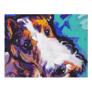 Wire hair Fox Terrier Bright Colorful Pop Dog Art Postcard