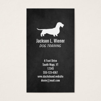 Wire Haired Dachshund Silhouette Chalkboard Style Business Card