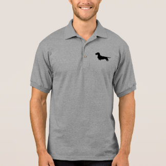 Wire Haired Dachshund Silhouette Polo T-shirt