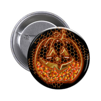 Wire pumpkin pinback button