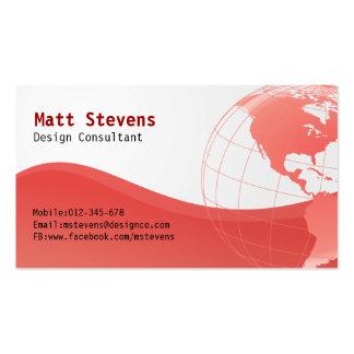 Wire Red Globe Americas Business Card