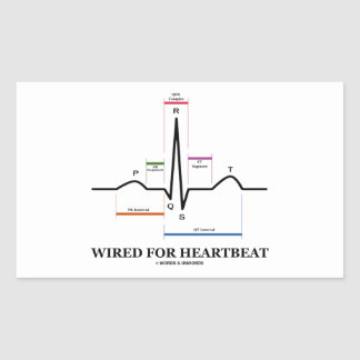 Wired For Heartbeat (Electrocardiogram) Rectangular Sticker