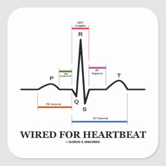 Wired For Heartbeat (Electrocardiogram) Square Sticker
