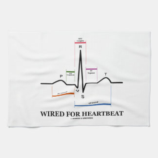 Wired For Heartbeat (Electrocardiogram) Tea Towels