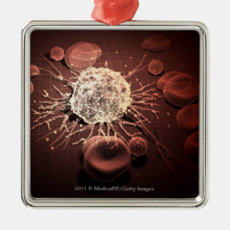 Wireframe of cancer cells christmas ornament