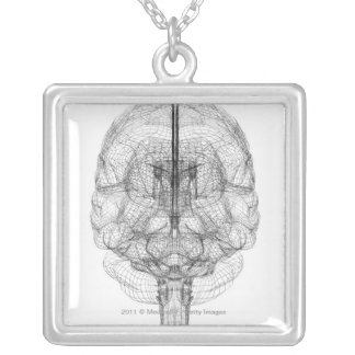 Wireframe of the brain silver plated necklace