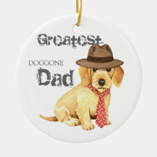 Wirehaired Dachshund Dad Christmas Ornament