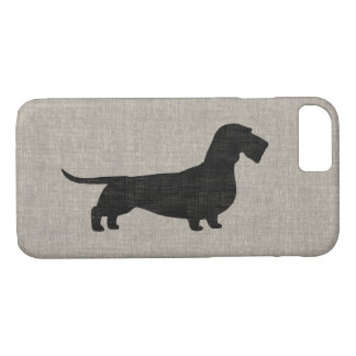 Wirehaired Dachshund Silhouette Faux Linen Style iPhone 8/7 Case