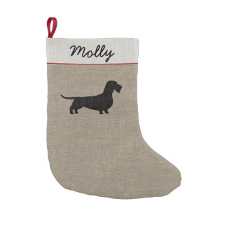 Wirehaired Dachshund Silhouette with Custom Text Small Christmas Stocking