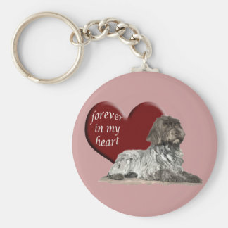 Wirehaired Pointer Basic Round Button Key Ring