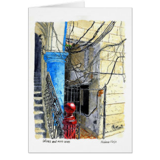 Wires and More Wires, Old Havana, Cuba Card