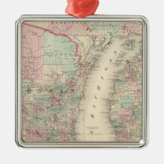 Wisconsin and Michigan Christmas Ornament
