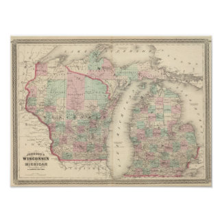 Wisconsin and Michigan Poster
