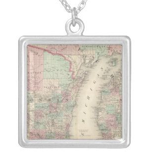 Wisconsin and Michigan Silver Plated Necklace