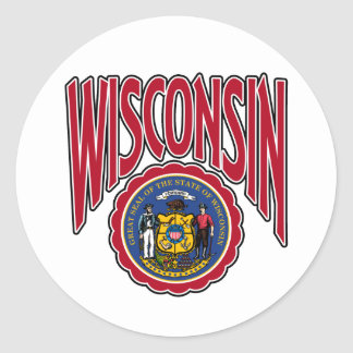 Wisconsin Arc and Seal Round Sticker