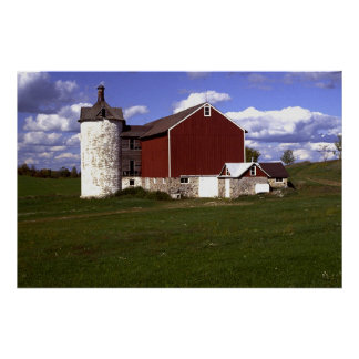 Wisconsin Barn with Brick Silo Poster