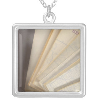 Wisconsin Bicycle Road Map 2 Silver Plated Necklace