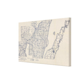 Wisconsin Bicycle Road Map 3 Canvas Print