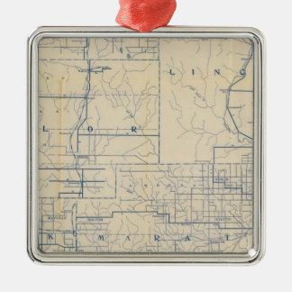 Wisconsin Bicycle Road Map 3 Silver-Colored Square Decoration