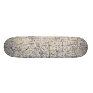 Wisconsin Bicycle Road Map 4 21.6 Cm Old School Skateboard Deck