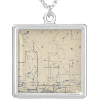 Wisconsin Bicycle Road Map 5 Silver Plated Necklace
