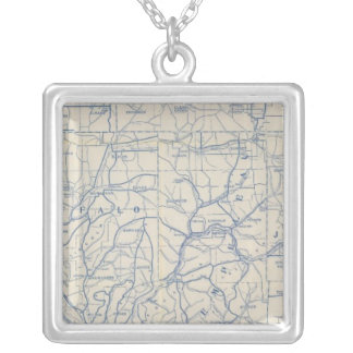 Wisconsin Bicycle Road Map 6 Silver Plated Necklace