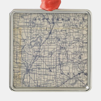 Wisconsin Bicycle Road Map 7 Christmas Ornament