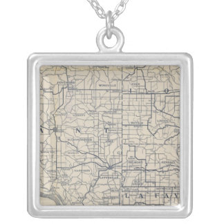 Wisconsin Bicycle Road Map 8 Silver Plated Necklace