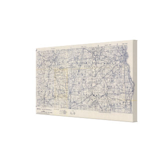 Wisconsin Bicycle Road Map Canvas Print