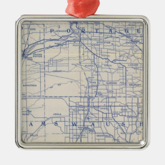 Wisconsin Bicycle Road Map Silver-Colored Square Decoration