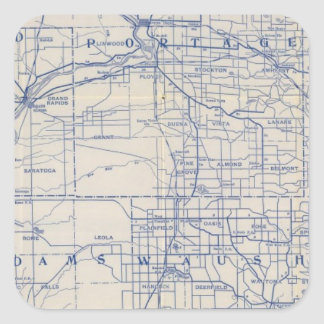Wisconsin Bicycle Road Map Square Sticker