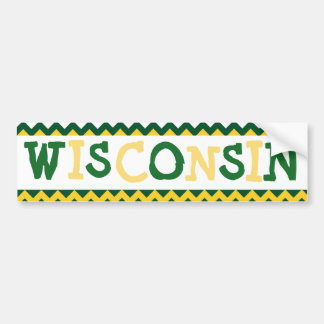 Wisconsin Car Bumper Sticker Green and Gold