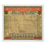 Wisconsin Central Railroad Map 1882