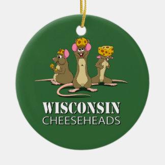 Wisconsin Cheesehead Mice Round Ceramic Decoration