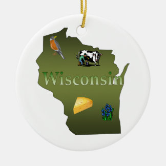 Wisconsin Christmas Tree Ornament