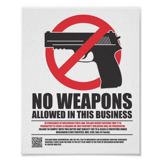 Wisconsin Concealed Carry Sign - Business Poster