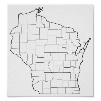 Wisconsin Counties Blank Outline Map Poster
