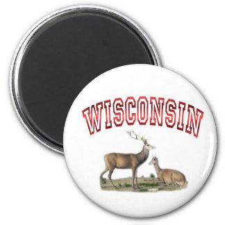 Wisconsin deer scene 6 cm round magnet