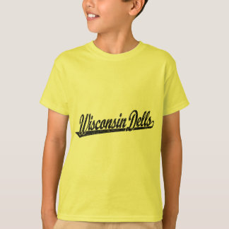 Wisconsin Dells script logo in black distressed T-Shirt