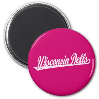 Wisconsin Dells script logo in white distressed 6 Cm Round Magnet