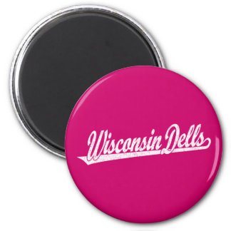 Wisconsin Dells script logo in white distressed Magnet