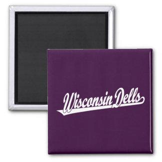 Wisconsin Dells script logo in white Square Magnet